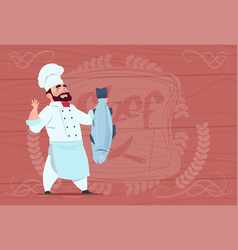 chef cook hold fish smiling cartoon restaurant vector image vector image