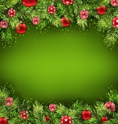 Christmas banner with fir sprigs and glass balls vector