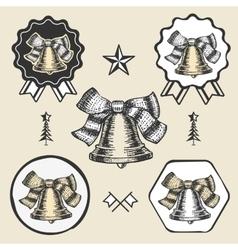 Christmas bell vintage symbol emblem label vector