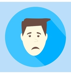 Color sad flat icon man face emotion vector image