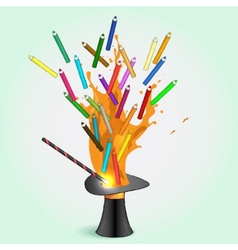 Colored pencils flying from magic hat vector