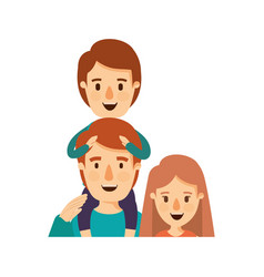 colorful caricature half body family mother and vector image vector image