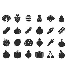 different vegetables and fruits in flat style vector image