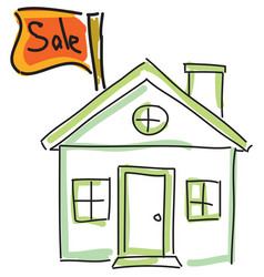 Drawn green house for sale vector