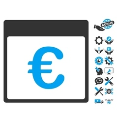 Euro currency calendar page icon with bonus vector