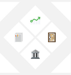 Flat incoming set of growth bank document and vector