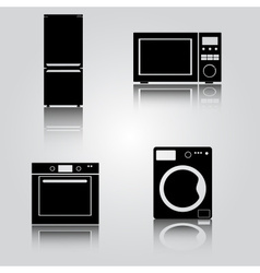 fridge and microwave and oven and washing machine vector image