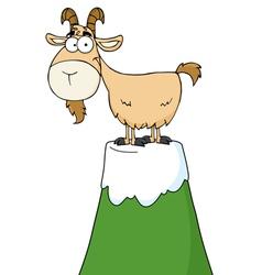 Goat atop a mountain vector