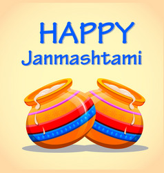 Greeting card happy janmashtami easy to edit vector