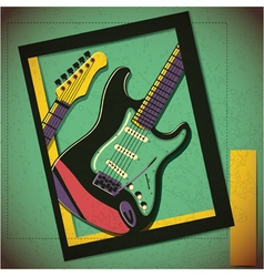Guitar in frame decorative poster on grunge vector image