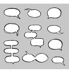 Hand-drawn speech bubbles sketchy doodle vector image