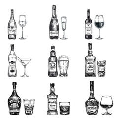 hand drawn with alcoholic vector image vector image