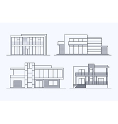 Houses linear 7 vector image