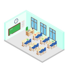 Isometric school class room vector