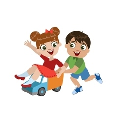 Kids playing with toy truck vector