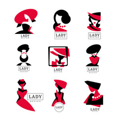 lady logo design set for vector image vector image