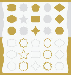 matte gold and silver line and silhouette emblems vector image vector image