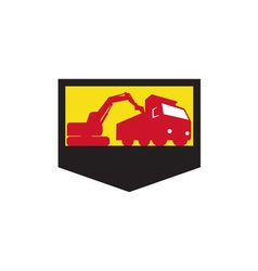 Mechanical Digger Loading Dump Truck Shield Retro vector image vector image