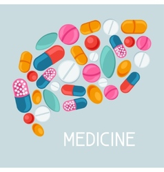 Medical background design with pills and capsules vector image