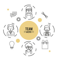 Monochrome infographic of team work with half body vector