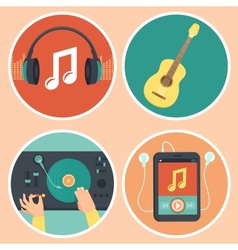 Music icons and signs in flat style vector