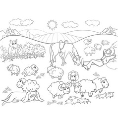 Pasture sheep with a shepherd and dog coloring for vector