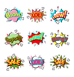 Pop art comic speech bubble boom effects vector