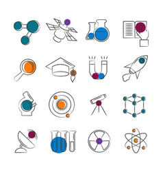science line icons collection with colorful vector image vector image