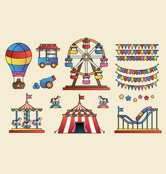 Set of line icon circus attraction elements vector