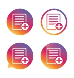 Text file sign icon Add File document symbol vector image vector image