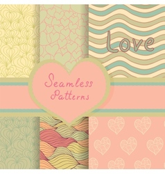 Vintage Valentine seamless patterns set vector image vector image