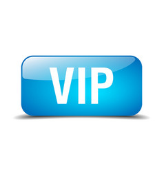 Vip blue square 3d realistic isolated web button vector