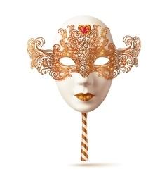 White venetian carnival mask with golden glitter vector