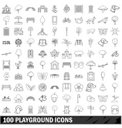 100 playground icons set outline style vector