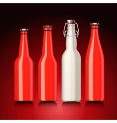 Beer bottle set with no label vector
