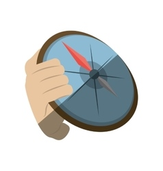 Hand holding compass direction travel maritime vector