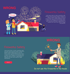 Fireworks safety wrong usage of pyrotechnics vector