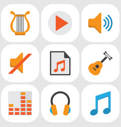 audio flat icons set collection of ear muffs vector image