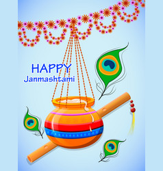 Happy krishna janmashtami greeting post card vector