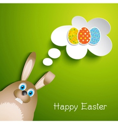 Cute Easter background with rabbit vector image