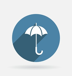 Umbrella circle blue icon with shadow vector