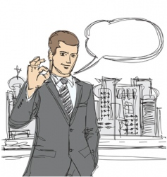 Happy businessman shows ok sketch vector
