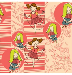 Girls and floral vector