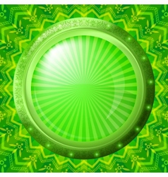 Glass porthole on green background vector