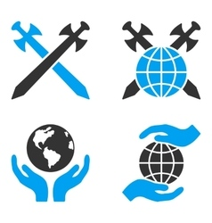 Global safety flat bicolor icons vector