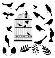 Of bird cage vector