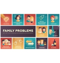 Family problems- flat design icons set vector
