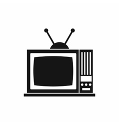 Retro tv icon simple style vector