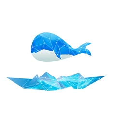 Abstract polygon whale isolated design blue vector
