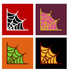 Assembly flat icons spider web vector